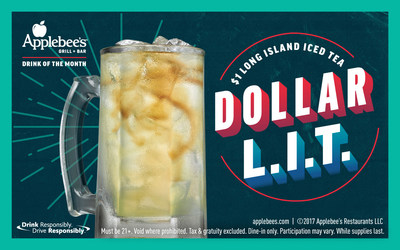 Applebee's Neighborhood Grill + Bar is offering the $1 Long Island Iced Tea, better known as the Dollar L.I.T.™, all December. The fan-favorite cocktail is made with a delicious mix of vodka, rum, gin, tequila, triple sec and sweet & sour mix with a splash of cola.