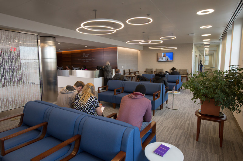 NYU Langone Ambulatory Care Bay Ridge waiting area. John Abbott for NYU Langone Health