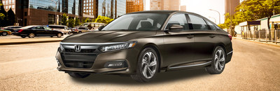 Front exterior image of a black 2018 Honda Accord Sedan.