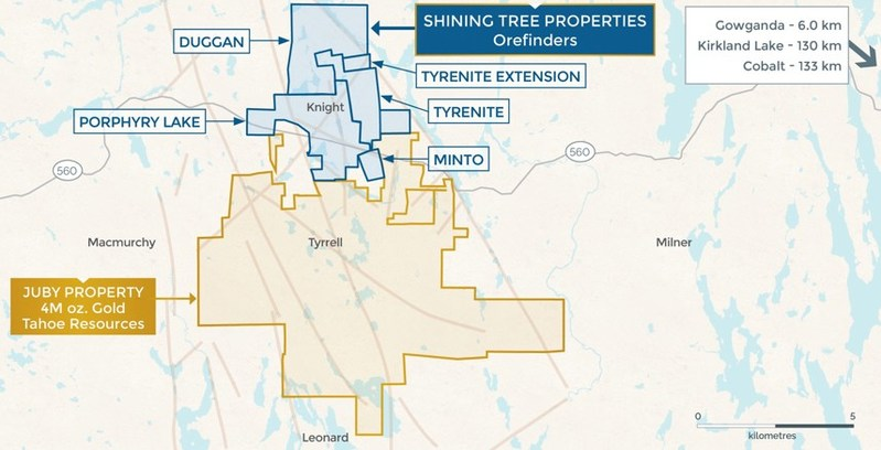 Orefinders Shining Tree Consolidation Map (CNW Group/Orefinders Resources Inc.)
