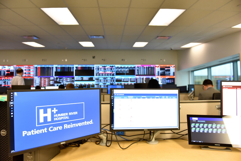 The Command Centre is located in a 4,500 square foot space.  The Command Centre includes 20 workstations, 22 LED screens.  Screens display critical information generated by real-time and predictive analytics to support decision-making, trouble-shooting and process improvement. (CNW Group/Humber River Hospital)