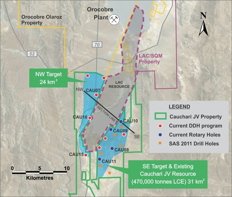 Figure 1: Location of CAU16 and other drill holes (CNW Group/Advantage Lithium Corp)