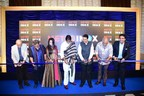 (Left to Right): Mr. Sooraj Barjatya, Mr. Subhash Ghai, Mrs. Amruta Fadnavis, Mr. Amitabh Bachchan, Honourable Chief Minister of Maharashtra – Mr. Devendra Fadnavis, Mr. Boney Kapoor and Mr. Siddharth Jain – Director, INOX Group ceremoniously cutting the ribbon to inaugurate the all-new 7-star cinema – Metro INOX (PRNewsfoto/INOX Leisure Ltd.)