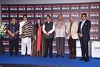 (Left to Right): Mr. Subhash Ghai, Mr. Amitabh Bachchan, Mrs. Amruta Fadnavis, Honourable Chief Minister of Maharashtra – Mr. Devendra Fadnavis, Mr. Boney Kapoor, Mr. Sooraj Barjatya and Mr. Siddharth Jain – Director, INOX Group at the felicitation ceremony held to honour these cinematic legends during the inauguration of the all-new 7-star cinema – Metro INOX (PRNewsfoto/INOX Leisure Ltd.)