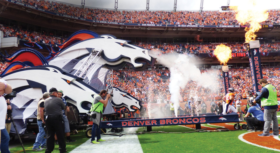 Denver Broncos Foam3D™ entrance structure that combined three-dimensional foam, truss, and pyrotechnics.