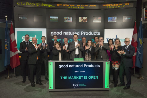 Paul Antoniadis, CEO & Board Director, good natured Products Inc. (GDNP), joined Eric Loree, Team Manager, Listed Issuer Services, TSX Venture Exchange, to open the market. good natured Products Inc. is a plant-based products and packaging company. The company is engaged in design, production and distribution of bioplastics for use in packaging and durable product applications. good natured Products Inc. commenced trading on TSX Venture Exchange on March 31, 2015. (CNW Group/TMX Group Limited)