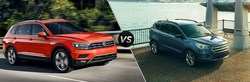The 2018 Volkswagen Tiguan offers more power and more cargo/passenger space than the competing 2018 Ford Escape. Furthermore, the 2018 Tiguan offers an all-new design for the new model year.