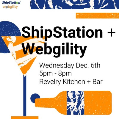 Webgility and ShipStation invite Xerocon attendees to Revelry Kitchen + Bar from 5:00 to 8:00pm on December 6. Together, Webgility and ShipStation make business easier.