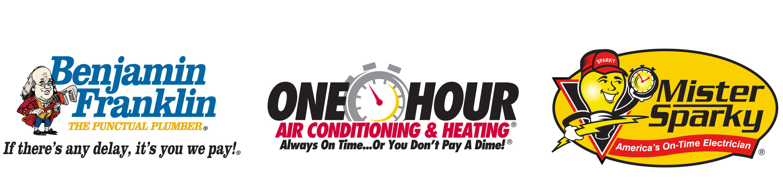 One Hour Heating & Air Conditioning, Benjamin Franklin Plumbing, Mister Sparky electric