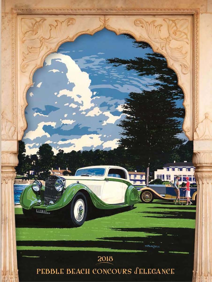 The cover of the official entry application folder for the 2018 Pebble Beach Concours d'Elegance features a 1935 Rolls-Royce Phantom II Continental bodied by Gurney Nutting. The artwork was painted by Tim Layzell. (Courtesy of Pebble Beach Concours d'Elegance)