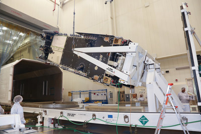 Lockheed Martin technicians loaded the Hellas-Sat-4/SaudiGeoSat-1 communications satellite into its shipping container for delivery to environmental testing in California.