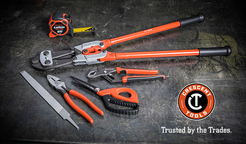 The Crescent® brand product lineup will include tape measures, bolt cutters, scissors, files, and many other tools from the five brands that have become part of the expanded Crescent tools offering. (Products shown for illustration only.)