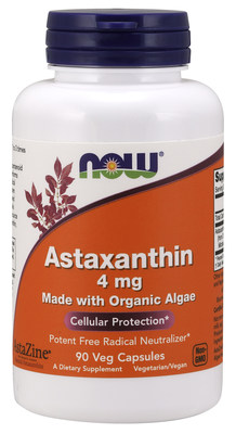 NOW's New Product featuring AlgaeHealth's AstaZine Astaxanthin derived from Certified Organic algae