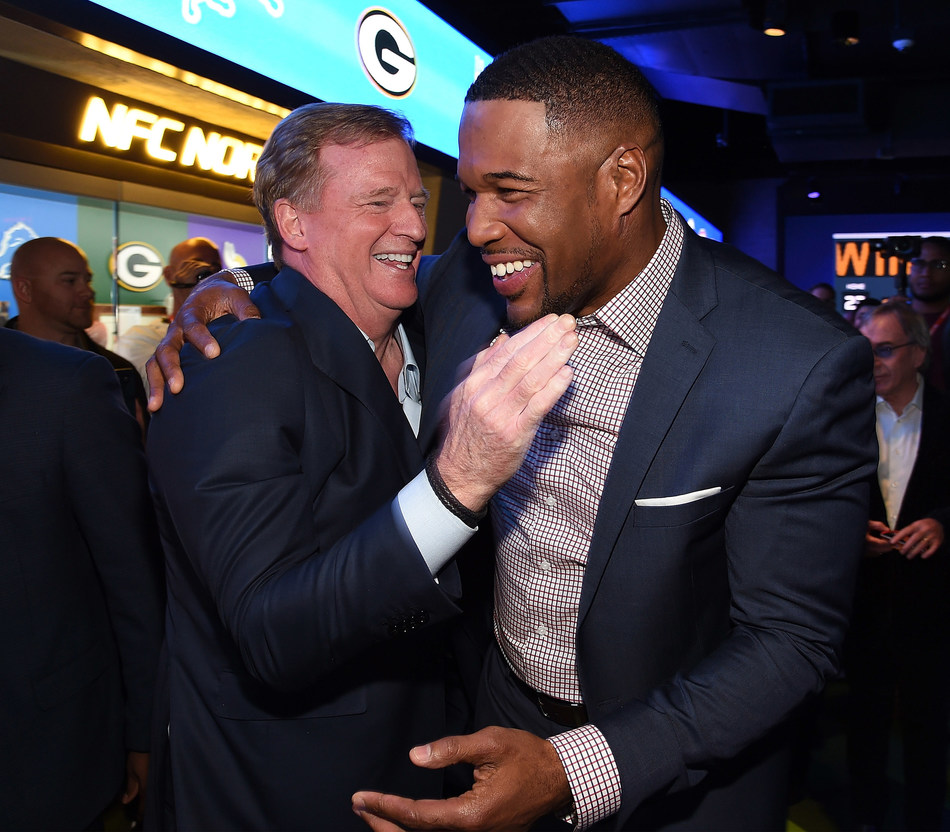 NEW YORK, NY - NOVEMBER 30:  National Football Commissioner Roger Goodell and Michael Strahan attend the NFL Experience Times Square opening celebration on November 30, 2017 in New York City.  (Photo by Kevin Mazur/Getty Images for NFL Experience)