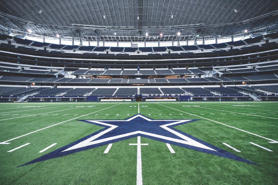 The Dallas Cowboys home field at AT&T Stadium features Hellas Construction's Matrix Turf with Helix Technology.