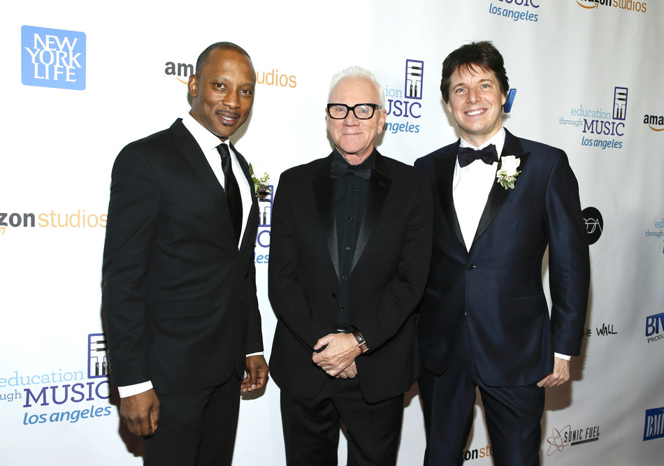 Shining Star Honorees Vincent Womack (pictured left) and Joshua Bell (pictured right) with Host Malcolm McDowell (center) at the Education Through Music-Los Angeles 12th Annual Gala, Skirball Cultural Center on November 28, 2017. Photo Credit: Danny Moloshok etmla.org