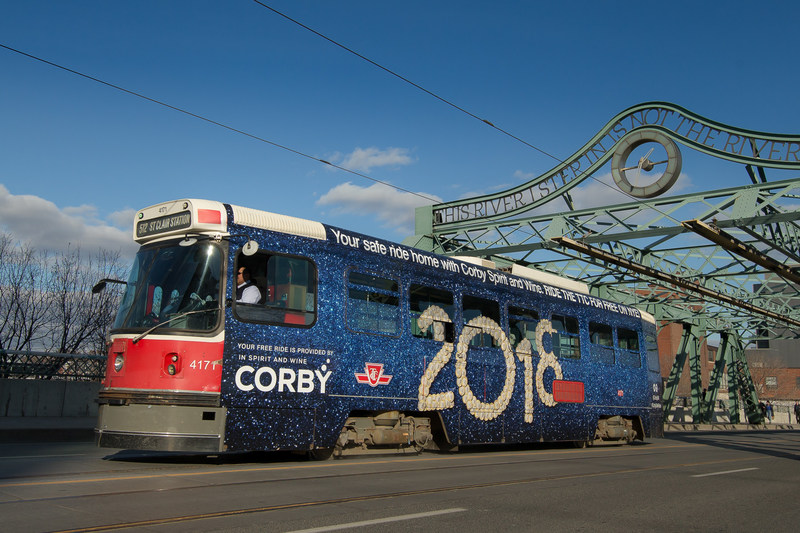 Corby sponsors entire TTC system on New Year's Eve to offer free, safe transportation for the City of Toronto. (CNW Group/Corby Spirit and Wine Communications)