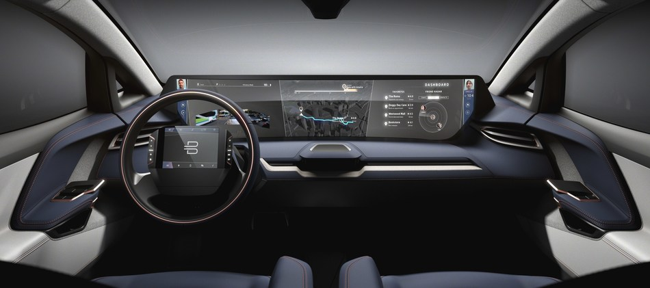"""BYTON Opens North American Headquarters; Byton is positioning its products as the """"next generation smart devices."""" A key feature includes a 49 inch by 10 inch large-size screen -- an all new smart human-vehicle interface -- and a touch screen steering wheel with gesture recognition."""