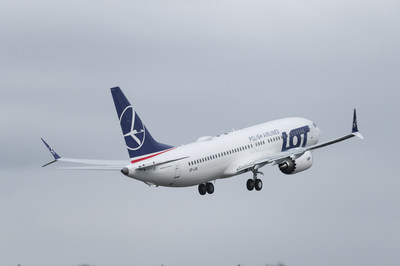 Boeing, LOT Polish Airlines celebrated the delivery of the carrier's 737 MAX. The airplane is seen here departing Boeing's delivery center in Seattle. (Paul Gordon photo).
