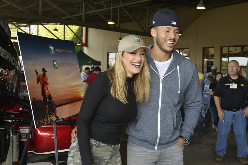 2017 World Series Champion and Houston Astros shortstop, Carlos Correa and fiancé, Daniella Rodriguez, in partnership with Vamos A Pescar, share their passion for fishing and boating with more than 100 families at fishing workshop in Katy, TX. (Credit: Anthony Rathbun, AP Newswire)