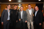 Cleo Third Street Preview Dinner // From Left: Daniel del Olmo,CEO of Disruptive Restaurant Group; Sam Nazarian, Founder & CEO of sbe; Ken Pressberg, owner of the Orlando Hotel; Michele Caniato, Chief Brand Officer at sbe; Scott Kleckner, Senior Vice President of Restaurant Operations at sbe