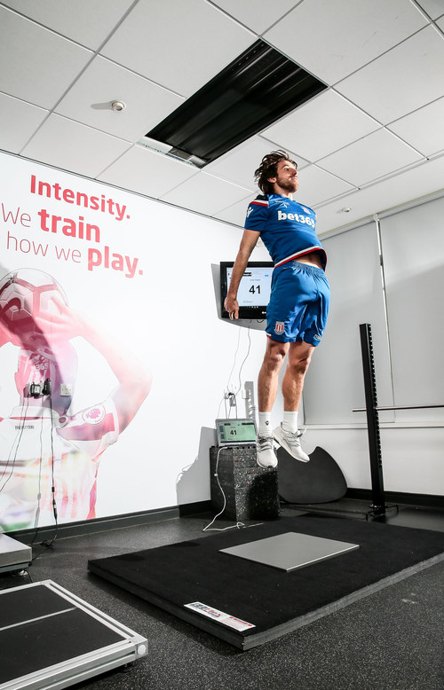 Joe Allen, Stoke City F.C. midfielder, performs a simple six-jump test on a force plate using Sparta Science technology, which generates a Sparta Score that will help his coaches personalize his training, prevent injury and maximize on-field time.