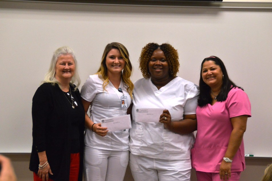 Staywell has established a scholarship program to address the shortage certified nursing assistants (CNA) serving long-term care. Chipola College recently held a graduation ceremony for the Certified Nursing Assistant class, from left: Dr. Karen Lipford, Dean School of Health Sciences, Kristal Whitaker and Myesha Grant received Staywell Way Scholarships, and CNA instructor Annamarie Johnson