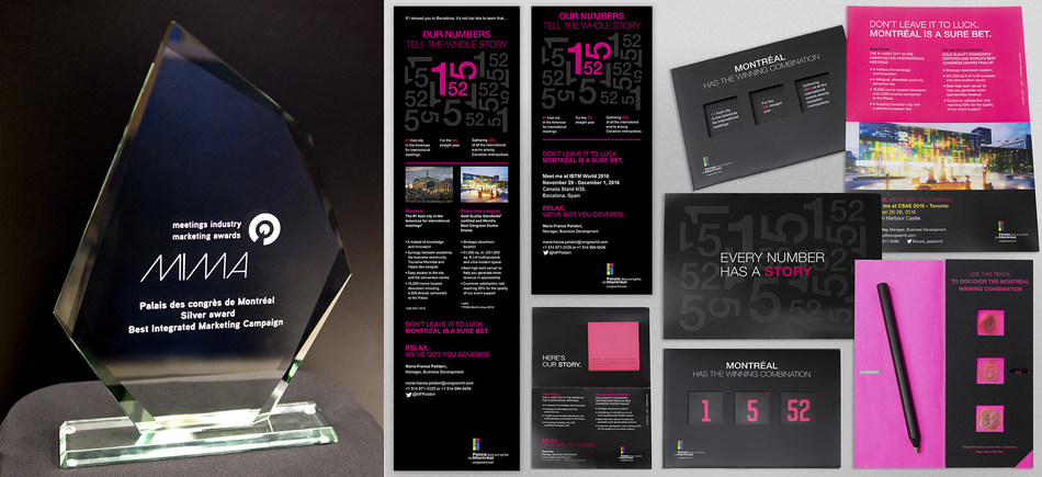 """With hits """"Numbers 1-5-52"""" relationship marketing and communications campaign, the Palais des congrès de Montréal won a Meeting Industry Marketing Award. (CNW Group/Palais des congrès de Montréal)"""