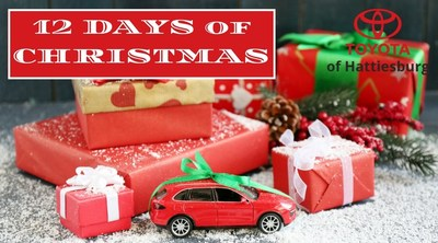 Consumers in the Hattiesburg area who would like to save on a brand-new Toyota or would like a chance to win holiday giveaways can learn more by visiting Toyota of Hattiesburg online or on social media during the dealership's 12 Days of Christmas campaign starting December 7.