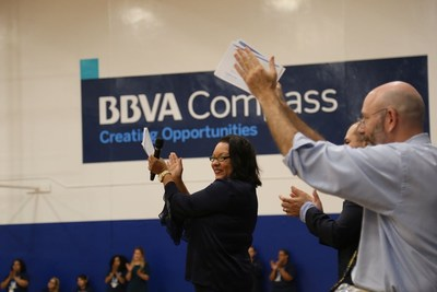 KIPP NEXUS School Leader Lisa McClinton at the ribbon-cutting for the BBVA Compass Opportunity Campus on Monday.