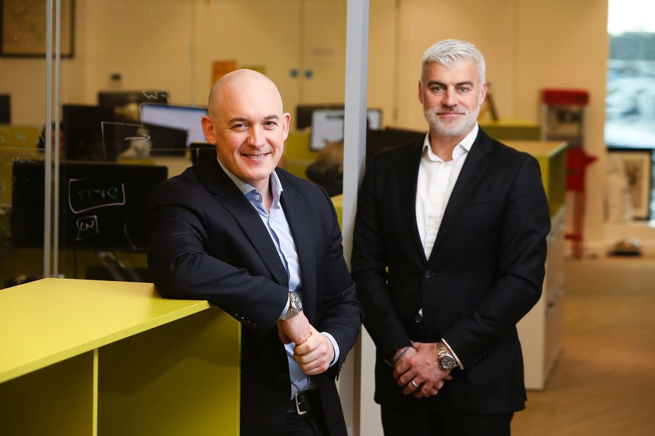 Photographed at the announcement of cyber security firm Integrity360's acquisition of UK firm Metadigm are, left to right, Eoin Goulding, CEO, Integrity360 and Jason Simper, Director, Metadigm (PRNewsfoto/Integrity360)