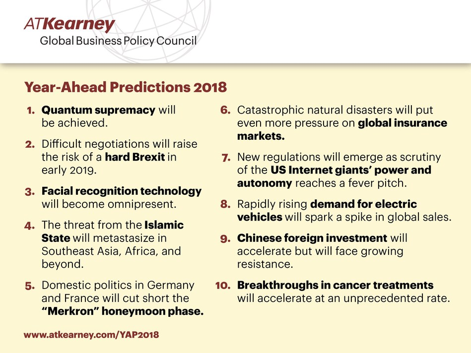 Technological change and geopolitical risk dominate top predictions for 2018 according to A.T. Kearney's Global Business Policy Council.
