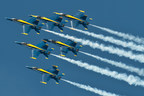 The U.S. Navy Blue Angels fly their signature blue and gold F-18 fighter aircraft in close formation.