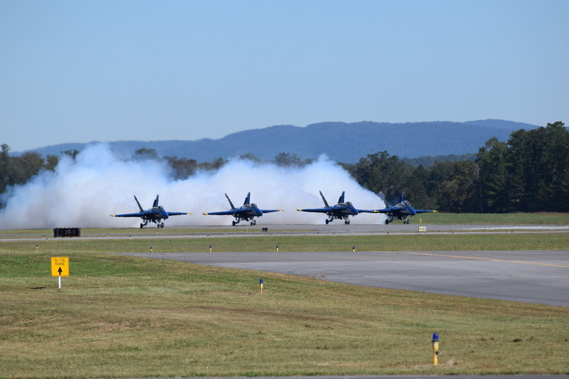 The four-ship diamond aircraft for the U.S. Navy Blue Angels prepare for takeoff.