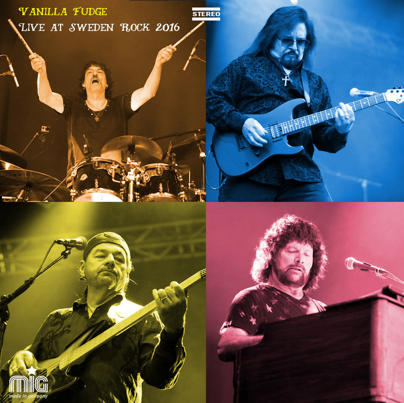 """VANILLA FUDGE release the CD/DVD of LIVE AT SWEDEN ROCKS - THE 50th ANNIVERSARY. Available December 8th on MIG Records and distributed by MVD, LIVE AT SWEDEN ROCK presents the band in its rawest and most honest setting. The album features powerful psychedelic re-workings of classic songs from The Doors, Donovan and Led Zeppelin, along with a distinctive musical take on the Motown and R&B classics, """"Shotgun"""" """"Take Me For A Little While"""" and """"You Keep Me Hanging On."""""""