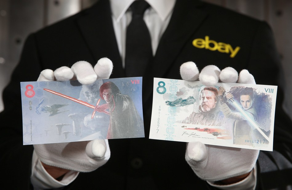 eBay and De La Rue launch an official commemorative note for charity on December 7th, to mark the upcoming film release of Star Wars: The Last Jedi as part of the GREAT Britain campaign, London.  Photo credit: Matt Alexander/PA Wire (PRNewsfoto/eBay)