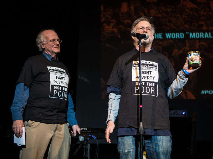 Ben & Jerry's co-founder, Jerry Greenfield, at the Howard Theater in Washington, DC, announcing that a portion of the proceeds from their One Sweet World flavor will go to support the Poor People's Campaign.