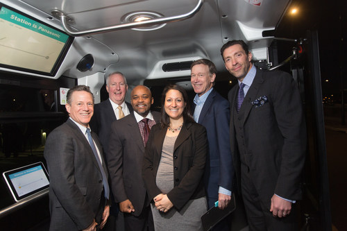 """Governor John Hickelooper, Mayor Michael B. Hancock joined by Panasonic, EasyMile, RTD, and CDOT for """"Connected and Autonomous Vehicle Day"""" at EasyMile's new North American headquarters co-located at Panasonic's Denver offices"""
