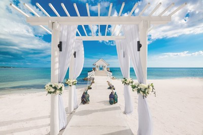Over-the-Water Chapel at Sandals South Coast, one of the new wedding locations available as part of Sandals Resorts' recently launched destination weddings program, Aisle to Isle