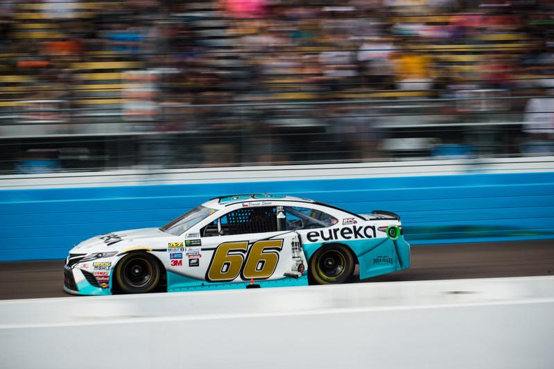 Eureka-sponsored car with driver #66 David Starr on the track at Phoenix International Raceway