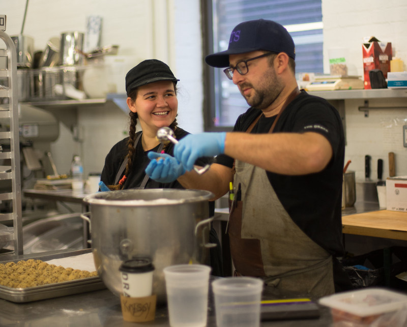 Krystal Whyte, left, working with Chef Andrew Eade at the Drake Commissary (CNW Group/SKETCH)