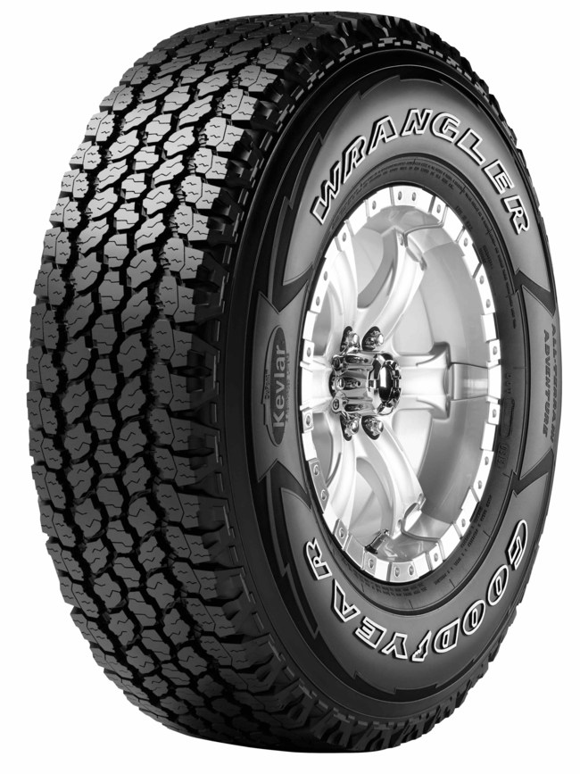 The Goodyear Wrangler All-Terrain Adventure with Kevlar is a tire that can handle on- and off-highway conditions, thanks to its traction ridges, biting edges, Durawall Technology and more.