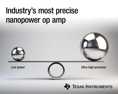 TI delivers the most precise nanopower op amp, reducing system power and maximizing battery life in precision IoT, industrial and personal electronics applications