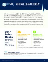 2017 CarMD Vehicle Health Index Make & Model Reliability Report ranks vehicles based on fewest check engine light repairs and lowest average car repair cost when the check engine light is on.