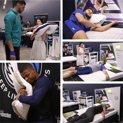 Dallas Mavericks being fit for their BEDGEAR sleep system