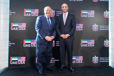 Timothy Keating, Senior Vice President of Government Operations for The Boeing Company joins Ambassador Yousef Al Otaiba delivering remarks on the importance of Boeing's relationship with the UAE at 46th UAE National Day hosted at Embassy of the United Arab Emirates in Washington, DC.