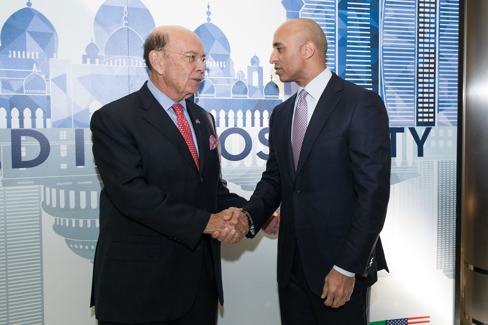 United States Secretary of Commerce, Wilbur Ross attends UAE's 46th National Day hosted by Ambassador Yousef Al Otaiba at the Embassy of the United Arab Emirates in Washington, DC.