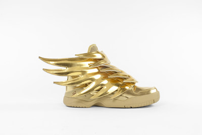 This contemporary pair of gold Jeremy Scott x Adidas sneakers may be the height of fashion today but they harken back to the golden winged sandals made for the Ancient Greek messenger god, Hermes. Indeed, the current popularity of golden footwear has a longstanding and complex history behind it. American, 2016 Image © 2017 Bata Shoe Museum, Toronto, Canada (CNW Group/Bata Shoe Museum)