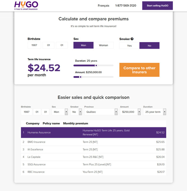 15 seconds to create and compare: Humania Assurance launches a new web application that allows you to create and compare a HuGO term life insurance quote (CNW Group/Humania Assurance)