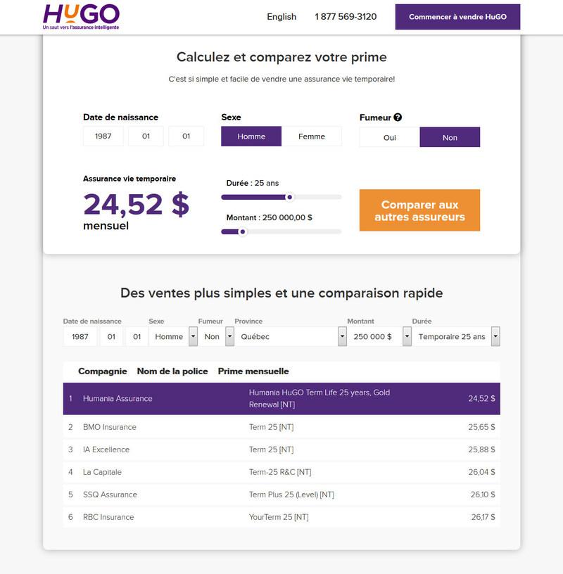 15 secondes pour créer et comparer : Humania Assurance lance une nouvelle application web qui permet de créer et de comparer une soumission d'assurance vie temporaire HuGO (Groupe CNW/Humania Assurance)